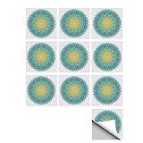 C COABALLA Mandala Stylish Ceramic Tile Stickers 10 Pieces,Aquatic Color Mandala Pattern with Sun in Center Indian Art Meditation Zen for Kitchen Living Room,5' L x 5' W