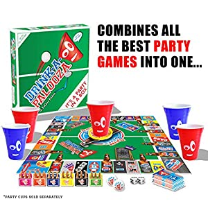 Board Game: Combines Old-School + New School Drinking Games & Adult Games with Beer Pong, flip Cup, Kings Cup Card Game & The Best Adult Party Games