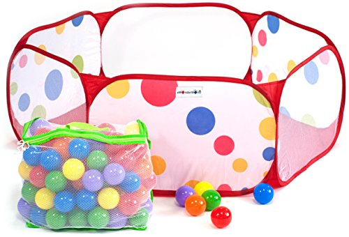 100 Wonder Playball Non-Toxic Crush Proof Quality Balls w/ Mesh Tote & Polka Dot Play Pen Ball Pit (Non Toxic Pen For Baby)
