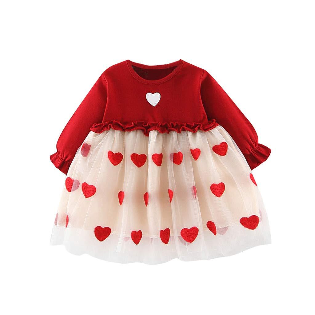LEXUPE Kleinkind Baby Kinder M/ädchen Langarm Karotten Print T/üll Patchwork Kleider Kleidung