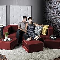 Jaxx Zipline Convertible Sleeper Sofa & Three Ottomans / California King-Size Bed, Tomato
