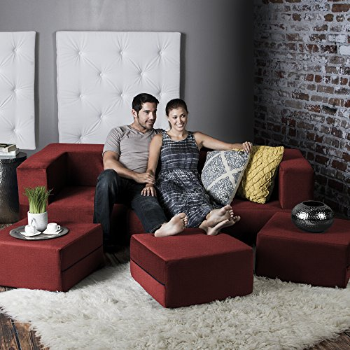 Jaxx Zipline Convertible Sleeper Sofa & Three Ottomans / California King-Size Bed, Tomato (King Size Bench)