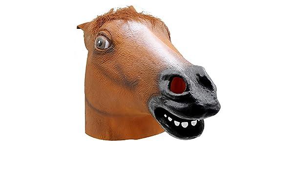 Spaufu 1x Máscara de Cabeza de Caballo Latexpara Halloween Decoración Fiesta Disfraz Carnaval Trajelujo Caucho Diseño de Animal 31cm*45cm: Amazon.es: Hogar