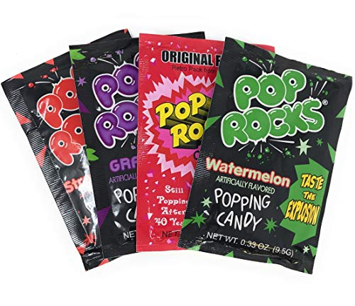 (Pop Rocks Candy Variety 20 Pack 4 Flavor Assortment Strawberry, Cherry, Watermelon, Grape)