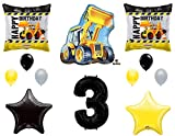 3rd BIRTHDAY CONSTRUCTION Balloons Decoration Supplies Party Boy Dump Truck Bulldozer Third