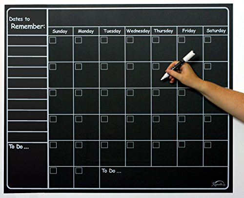 Large Chalkboard Sticker Calendar Wall Organizer Decal | Vinyl Waterproof Removable | Weekly & Monthly Organizer | 34
