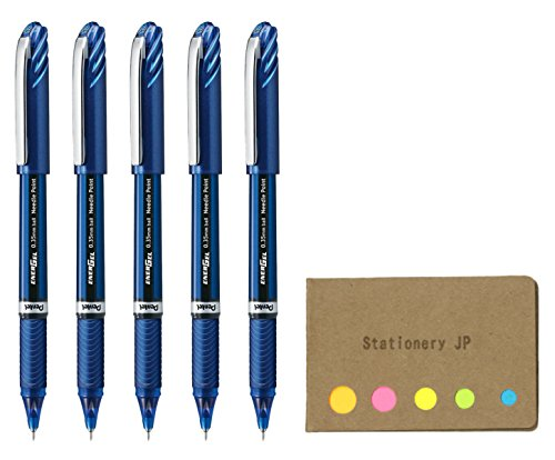 Ballpoint Pen, Micro Fine Point 0.35mm Needle Tip, Blue Ink, Blue Body, 5-pack, Sticky Notes Value Set ()
