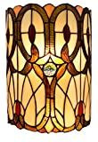 Amora Lighting Tiffany Style Wall Lamp Brown Yellow Red 2 Light Stained Glass Vintage Antique for Bedroom Living Room 10