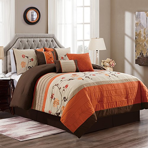 Chezmoi Collection Serene 7-Piece Floral Scroll Embroidery Pleated Striped Comforter Set (Queen, (Serene Stripe Chocolate)