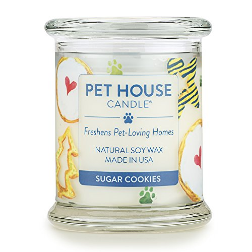 One Fur All - 100% Natural Soy Wax Candle, 20 Fragrances - Pet Odor Eliminator, Up to 60 Hours Burn Time, Non-Toxic, Eco-Friendly Reusable Glass Jar Scented Candles – Pet House Candle, Sugar Cookies