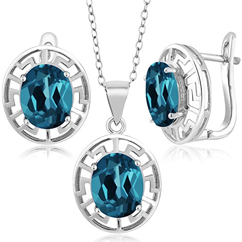 8.40 Ct Oval London Blue Topaz 925 Silver Pendant Earrings Set With Chain (Topaz Set Birthstone)