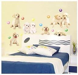 Artscharm Home Decor Mural Vinyl Wall Sticker Kids Nursery Room Wall Art Fashion Decal Paper Cute Puppy Dog
