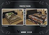 Queen Size Double Sided Reversible Soft Mink Blanket Brown Bear & Zebra Skin