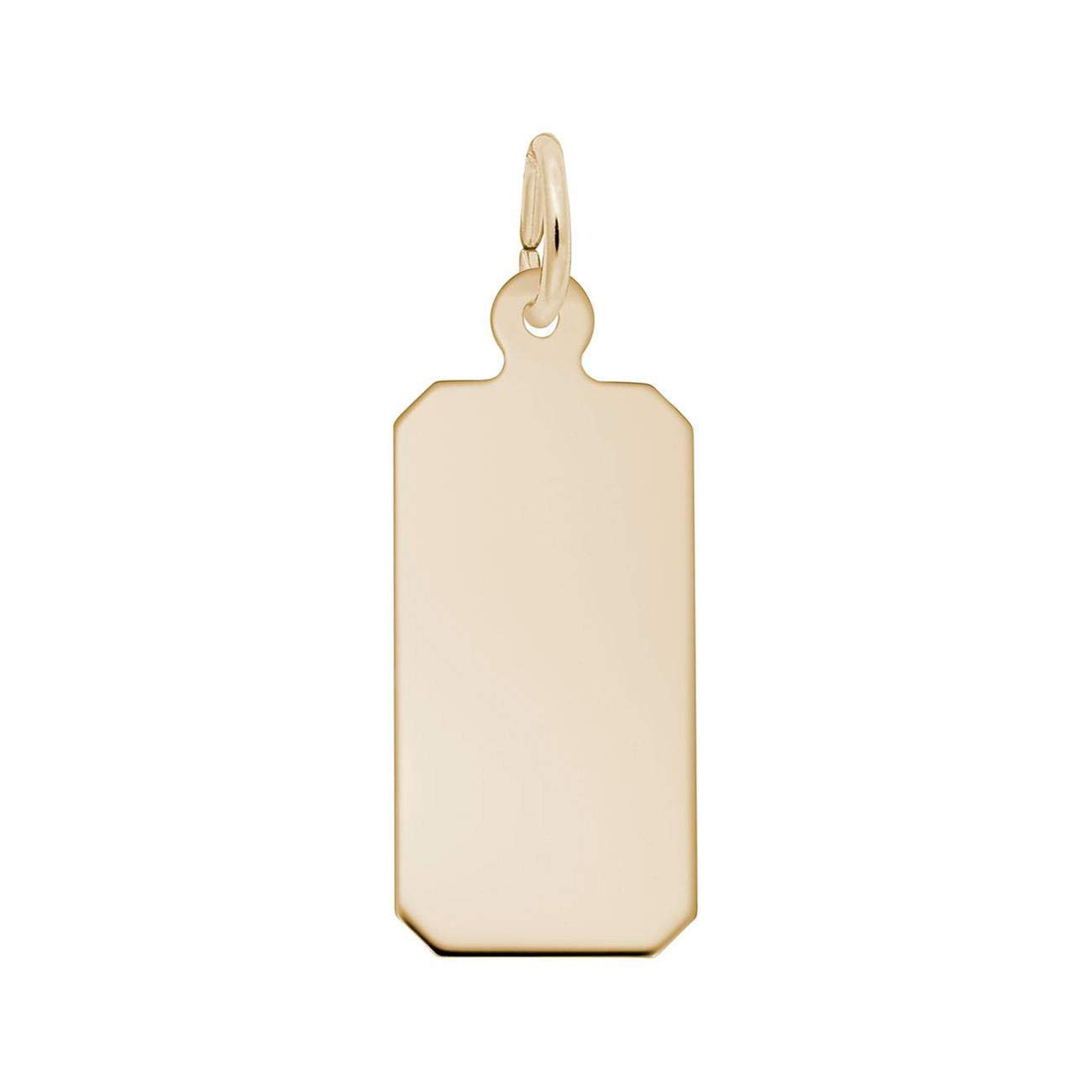 Yellow Gold Classic Dog Tag Charm