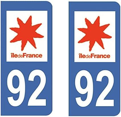 Amazon.es: 2 Pegatinas autoadhesivas para matrícula de coche con número 92 del departamento francés Altos del Sena.