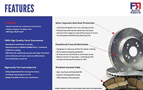 High-End 4 Ceramic Pads Fits: 6lug Front Kit 2 Black Drilled Brake Rotors