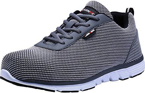 LARNMERN Steel Toe Men Safety Shoes Reflective Indestructible Work Sneakers Lightweight Breathable Outdoor Footwear (9 Wide, Dark Grey/White)