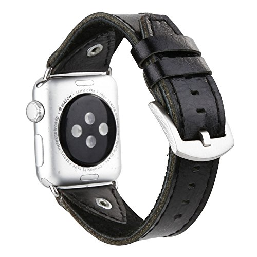 Apple Watch Bands 42mm ,iwatch bands series 3,apple smart watch band,sports band,iwatch band ,Luxury Leather Replacement Band/Strap for Apple iWatch Series 3 & 2 & 1 2017 2016 2015(Black)