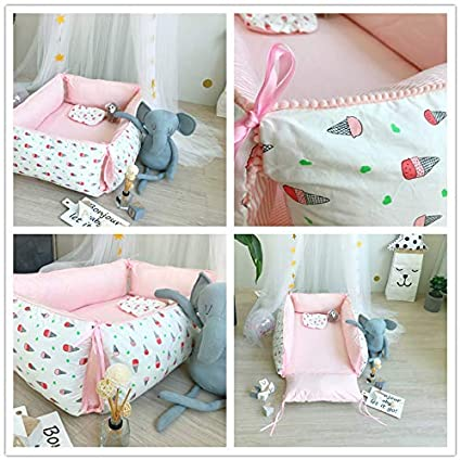 Baby Portable Travel Bed Side Sleeper Multifunctional Newborn Baby Cribs Kids Play Mat 55.1 X 51.2 Wave point