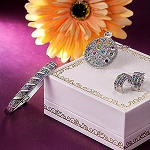 Qianse Circle Pendant Necklace Bangle Bracelet Earrings Fashion Jewelry Set with Multicolor Austrian