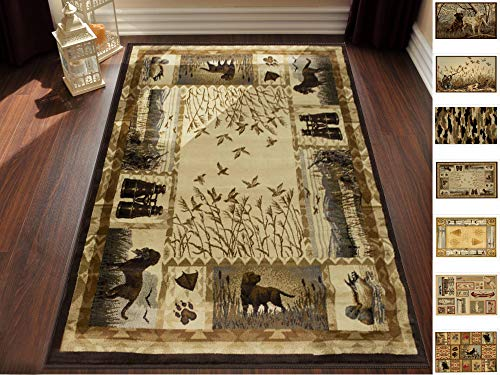 Handcraft Rugs Cabin Rug - Lodge, Cabin Hunting Accent Area Rug - Modern Geometric Design Cabin Area Rug - Abstract, Multicolor Design- Hunting Dogs/Duck/Magnifier (8 x 10 -