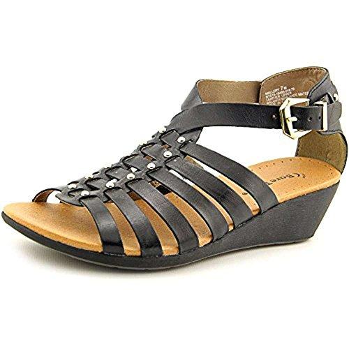 BareTraps Bare Traps Womens Mallery Leather Open Toe Casual Strappy Sandals Black