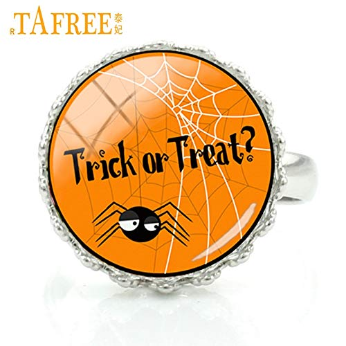 Rings - 2017 New Trick or Treat Halloween Charms Women Men Rings Glass gem Pumpkins Witch Ghosts Art Crown Rings Jewelry J24 - by LVT11-1 PCs]()