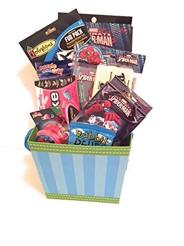 Marvel Ultimate Spider-Man Easter Holiday Gift Basket or Birthday Basket - Candy,Stickers, Coloring Book, Spinner, Playing Cards, Journal, Puzzle - 13 pieces