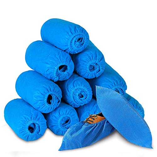 Thickened Disposable Shoe Covers Non Slip Non-woven Fabric Shoe Boot Covers Breathable Dustproof Shoe Protector Booties for Indoors Outdoors Men Women Kids Household - 100 Pack 50 Pairs (Nattier Blue)