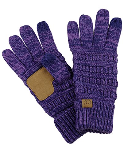 C.C Unisex Cable Knit Winter Warm Anti-Slip Touchscreen Texting Gloves, Purple/Navy