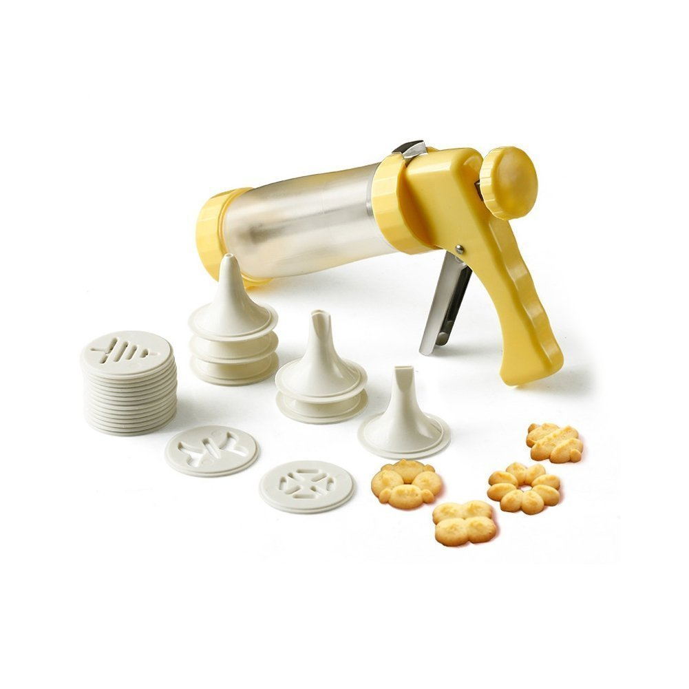 Double2C Cookie Press Gun Kit Multifunctional DIY Spritzgeback Cookies Maker With Good Stainless Grips Ratcheting Action Cake Decorating Set -Includes 16 Molds and 6 Nozzles