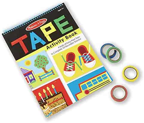 Melissa & Doug Tape Activity Book, Early Learning Skill Builder, 4 Rolls of Easy-Tear Tape, Sturdy Plastic Binding, 20 Pages, 10.9