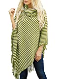Simplee Plus Women's Turtleneck Stripe Tassel Loose Shawl Poncho Cape Cloak