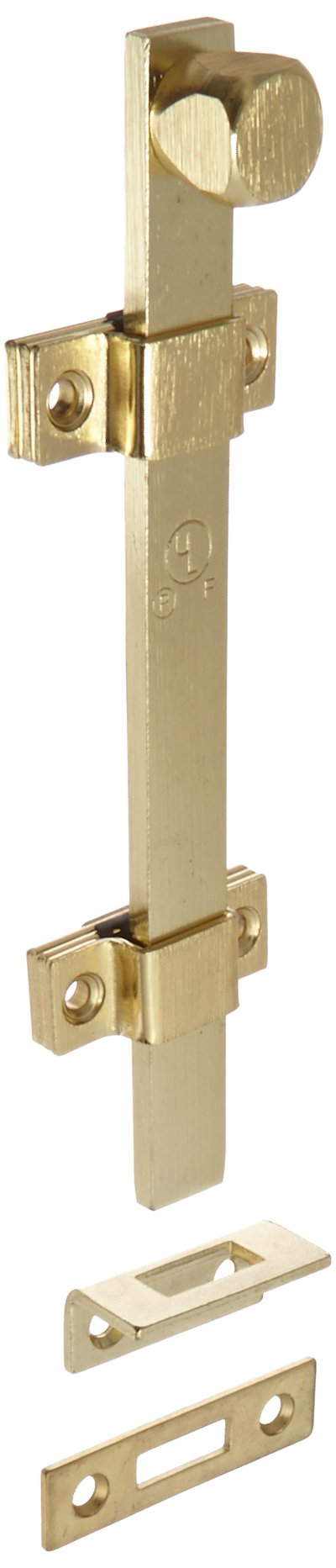Rockwood 580-8.3 Surface Bolt, UL Listed, 8'' Length, Brass Polished Clear Coated Finish