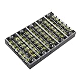 uxcell 5pcs 600V 25A Dual Row 6 Positions Screw Terminal Electric Barrier Strip Block