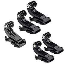 Oumers 5pcs Vertical Surface J-Hook J-Clips Buckle Mount Adapter Holder Body Strap Quick Release J-Hook Buckle Mount Base for GoPro Hero5 Gopro Hero 4, Hero 3+, Hero 3, Hero 2 Silver Black Camera