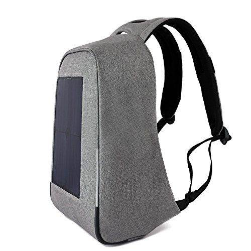 Tigernu 10W Solar Backpack Anti Theft 15.6 Laptop Backpack with USB Charging Port (Light Gray) by TIGERNU (Image #4)
