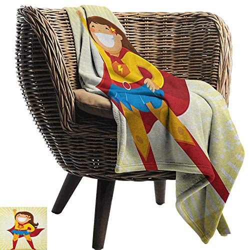Living Room/Bedroom Warm Blanket Superhero Courageous Little Girl with a Big Smile in Costume Standing in a Heroic Position Anti-Static Throw60 Wx80 -