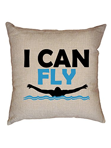 Hollywood Thread I Can Fly Swimming Butterfly Icon Swimmer Decorative Linen Throw Cushion Pillow Case with Insert