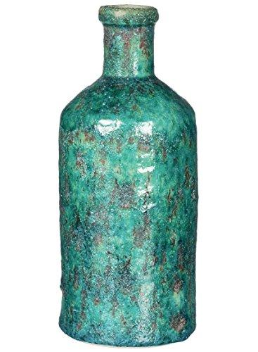 Sullivans CM2691 Rustic Stone Ceramic Décor Bottle Vase, Aqua Blue Green, 6 x 14 Inch
