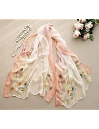 nwn Silk Scarf Print Embroidery Embroidered Silk Sunscreen Scarf Thin Section 100% Mulberry Scarf Chiffon Scarf Sunscreen Beach Towel (Length: 175 * 70cm, Packing of 1) (Color : D)