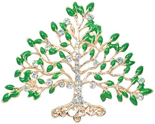 Fruit Pin Brooch (Gyn&Joy Gold Tone Green Leaves Crystal Rhinestones Fruit Tree Brooch Pin BZ032)