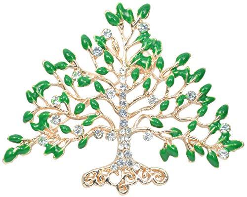- Gyn&Joy Gold Tone Green Leaves Crystal Rhinestones Fruit Tree Brooch Pin BZ032