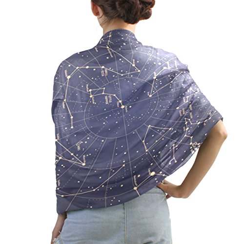 Shawl Wrap Sheer Scarves,12 Constellation Universe Stars,Oblong Chiffon Scarf 04
