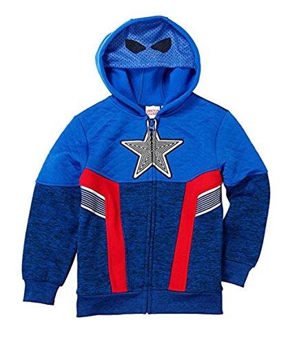Marvel Avengers Captain America Little Boys Fleece Zip Up Hoodie (Blue, 3T)