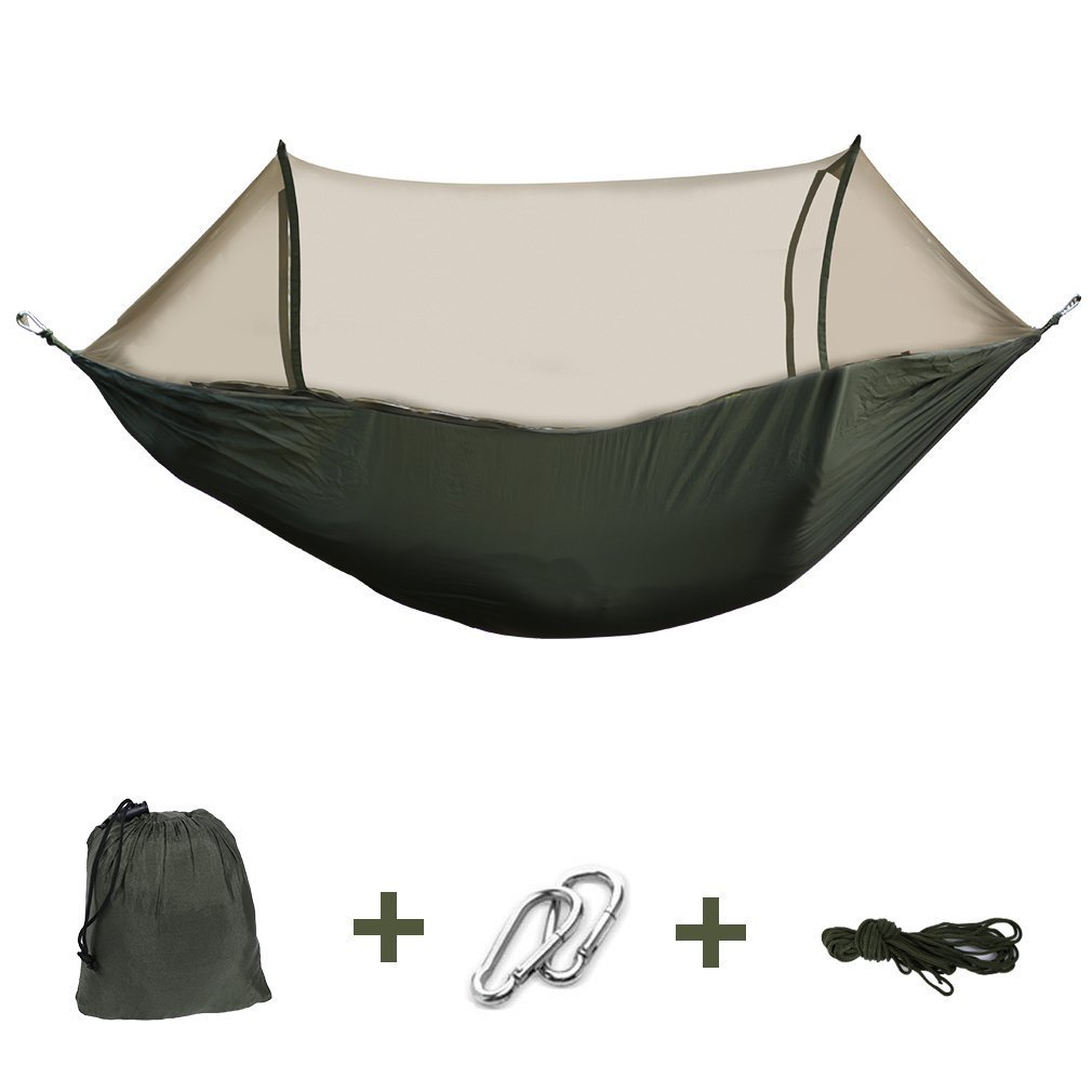 Enjoydeal Portable High Strength Parachute Fabric Hammock Hanging Bed With Mosquito Net For Outdoor Camping Travel Green 250 x 120 cm m-211