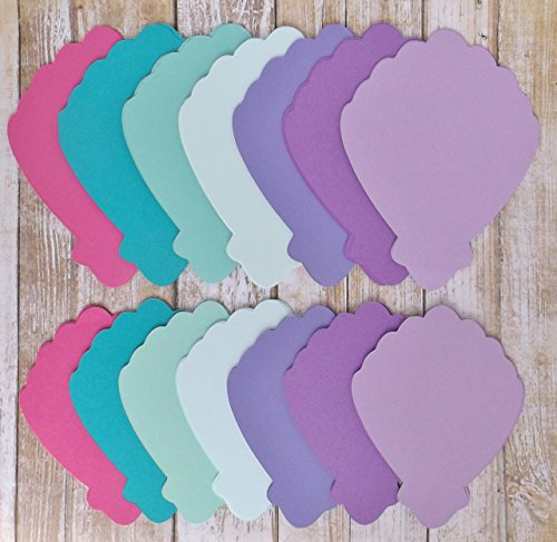 (Clam Shell Die Cut Place Cards-Table Cards-Food and Drink Labels-Under the Sea Mermaid Birthday Shower Wedding-Small and)