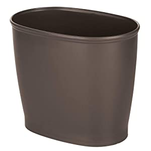 mDesign Modern Oval Plastic Small Trash Can Wastebasket, Garbage Container Bin for Bathroom, Kitchen, Laundry Room, Home Office, Dorms - Espresso Brown