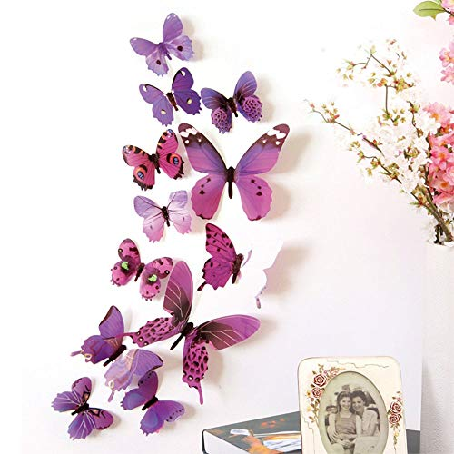 Trubetter 24 PCS Purple 3D Butterfly Removable Mural Stickers Wall Stickers Decal Wall Decor for Home and Room Decoration