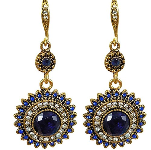 Bohemia National Wind Restoring Ancient Ways Sunflower Earrings (Gold Blue)